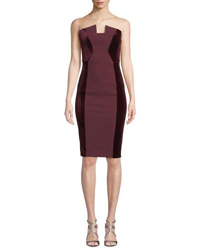 Lena Strapless Tuxedo Dress w/ Velvet Sides