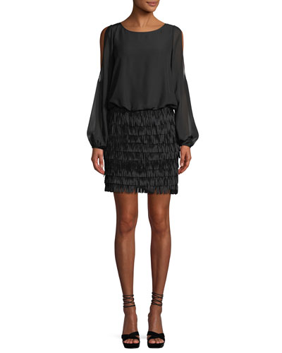 Slit-Sleeve Mini Dress w/ Fringe Skirt
