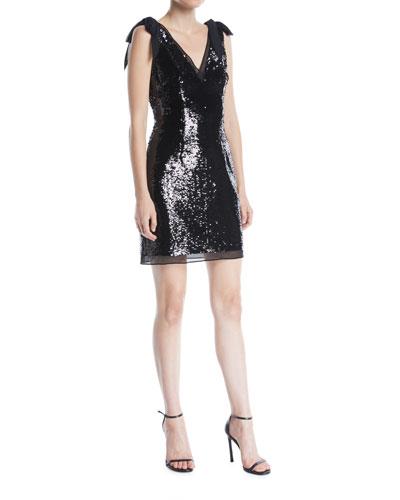 V-Neck Bow-Shoulder Sleeveless Sequined Mini Cocktail Dress