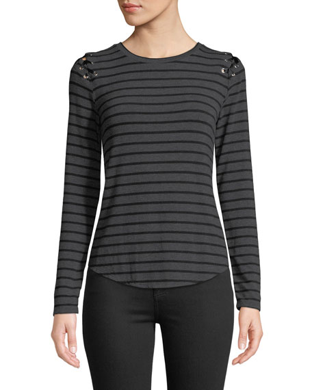 Generation Love Pauline Striped Lace-Up Top