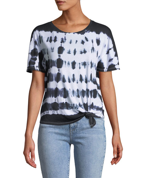 GENERATION LOVE Ava Tie-Dye Cotton Crewneck Tee in Black Pattern