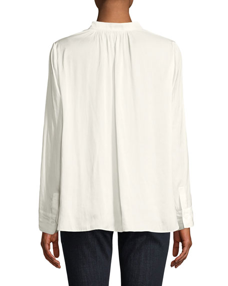 Tink V-Neck Satin Long-Sleeve Blouse