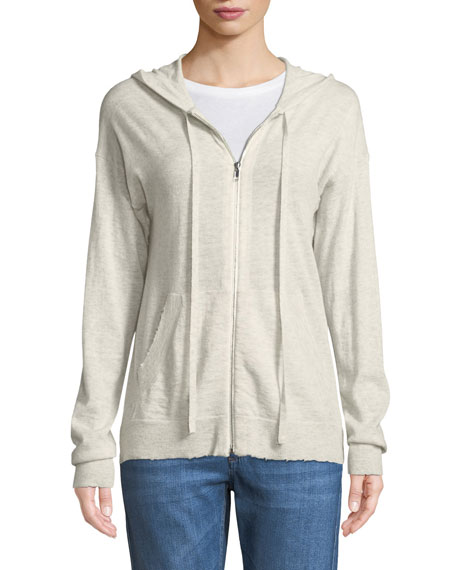 Sixtine Cashmere Zip-Front Hoodie Cardigan with Skull