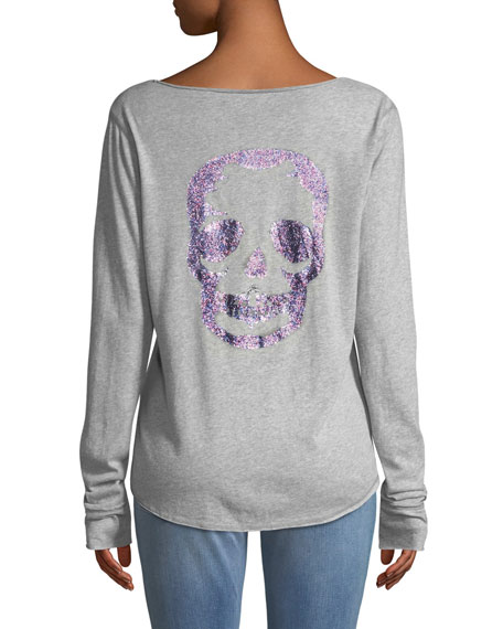Tunisien Skull-Back Long-Sleeve Henley Top