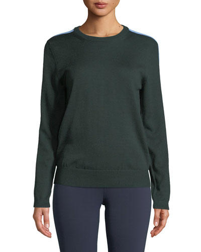 Double-Striped Cashmere Performance Sweater