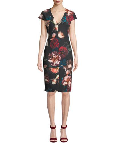 Greyson Floral-Print Short-Sleeve Sheath Dress
