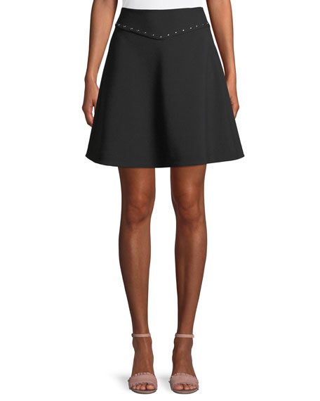 kate spade new york crepe studded mini skirt