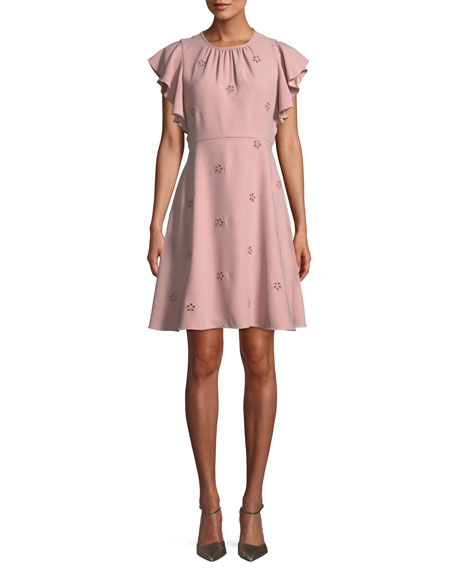 kate spade new york cutout crepe dress w/