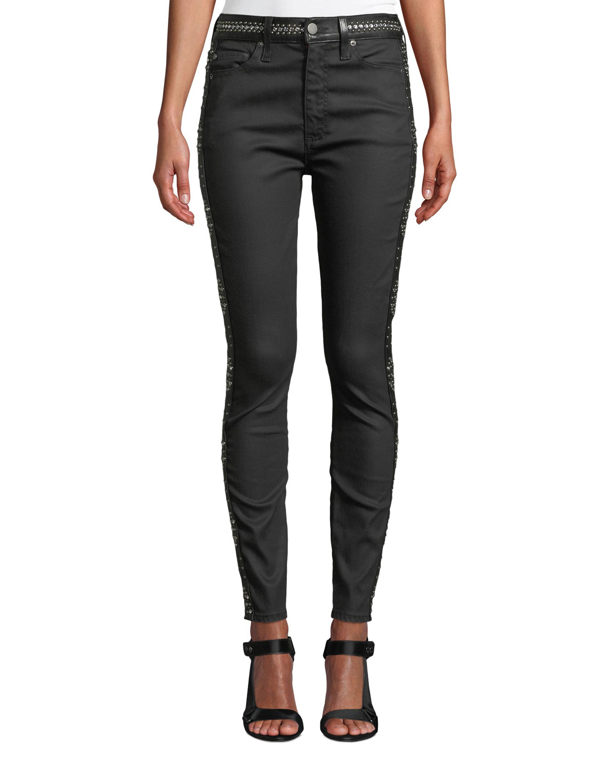 34fb7f0f63ad AO.LA by Alice+Olivia Good High-Rise Studded Ankle Skinny Jeans ...