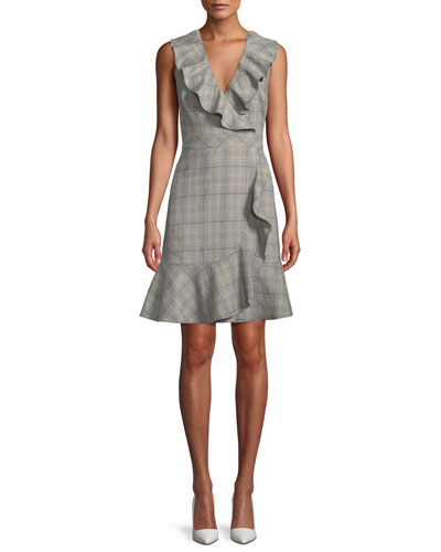 mod plaid a-line dress w/ ruffle trim