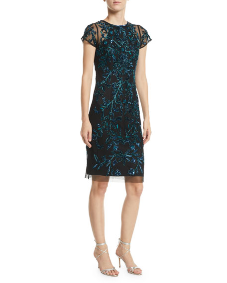 Aidan Mattox Cap-Sleeve Beaded Body-Con Dress