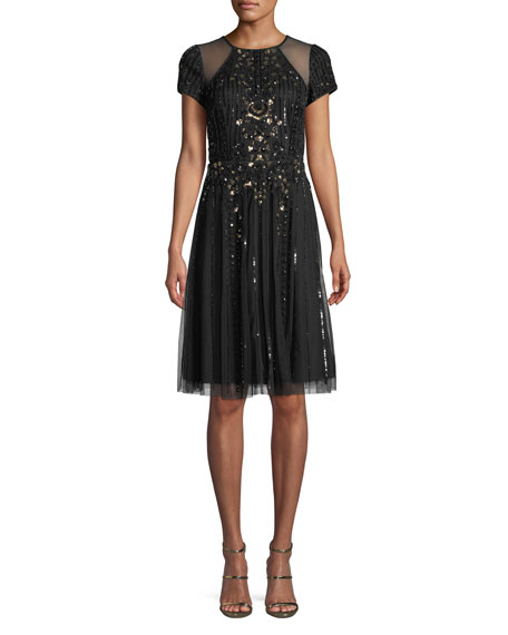 Aidan Mattox Cap-Sleeve Illusion Cocktail Dress w/ Embellishments
