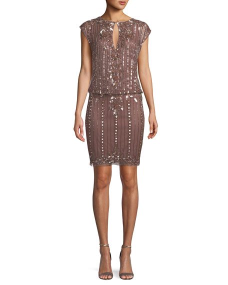 Aidan Mattox Embellished Cap-Sleeve Blouson Dress