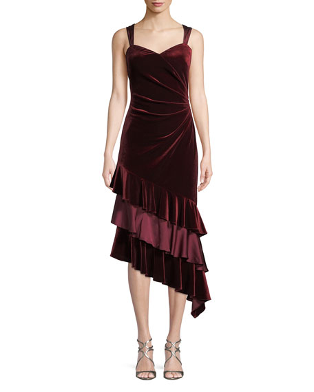 Aidan Mattox Velvet Cocktail Dress w/ Asymmetric Ruffled