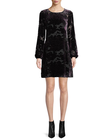 Aidan Mattox Burnout Velvet Mini Dress w/ Long