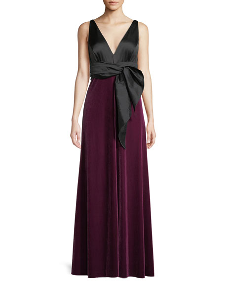Aidan Mattox Charmeuse Bow Gown w/ Velvet Skirt