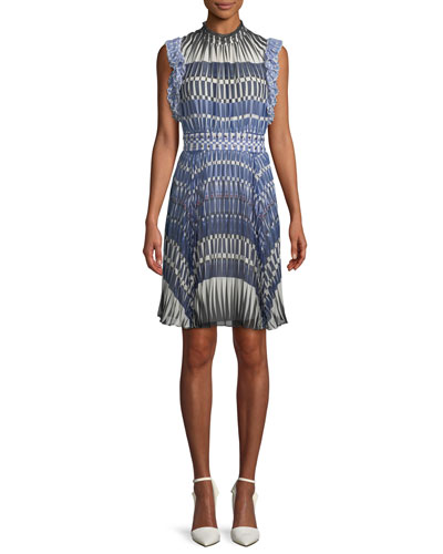 stephana deco-print dress w/ studded waistline