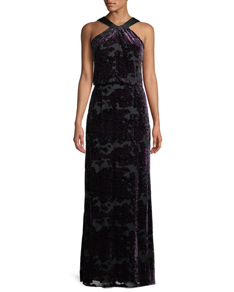 Aidan Mattox Burnout Velvet Halter Gown