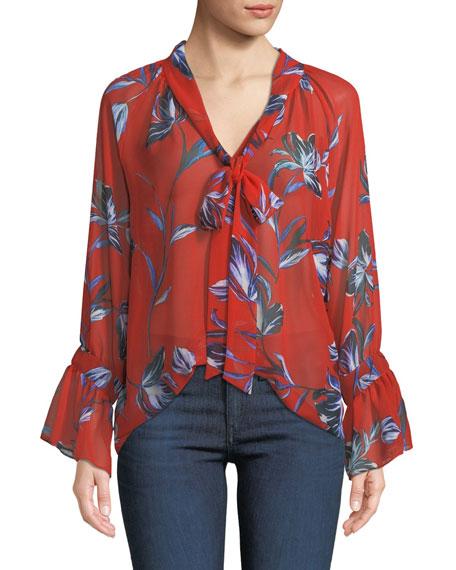 MISA Los Angeles Gracie Floral Bell-Sleeve Tie-Neck Top
