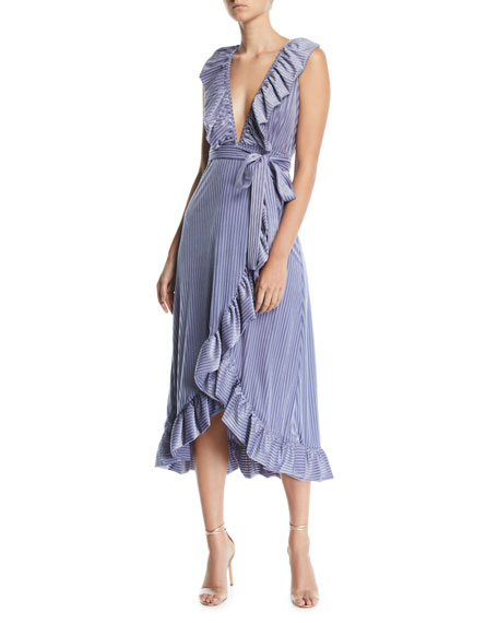 Misa EVE PINSTRIPE VELVET RUFFLE WRAP DRESS