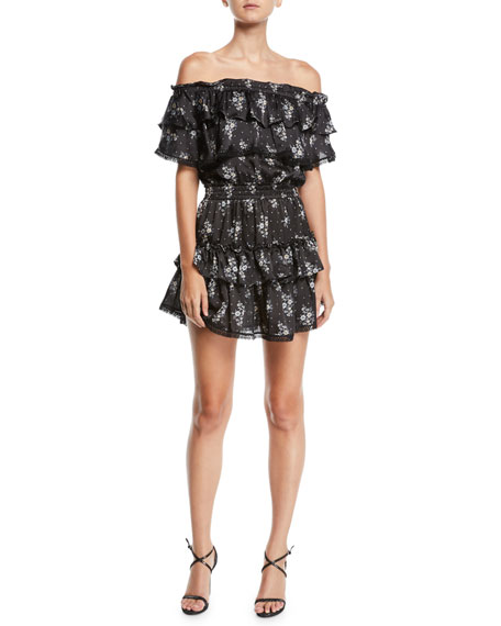MISA Los Angeles Mayna Off-Shoulder Floral Ruffle Mini