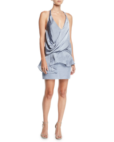 Misa MIRKA HALTER DRAPED SATIN COCKTAIL DRESS