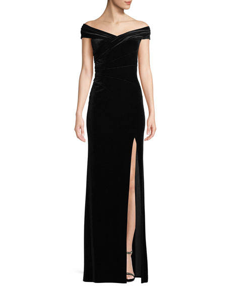 Aidan Mattox Off-The-Shoulder Front-Slit A-Line Velvet Evening