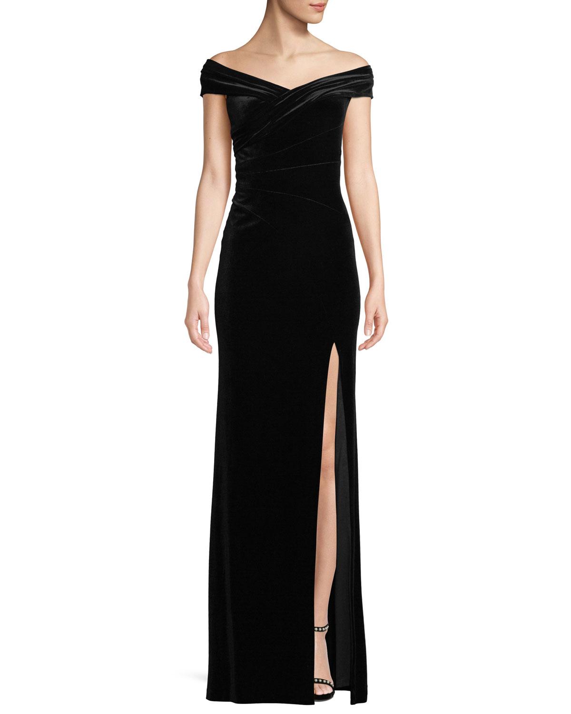 Aidan Mattox Off The Shoulder Front Slit A Line Velvet Evening Gown