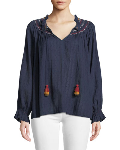 Trudie Embroidered V-Neck Blouse