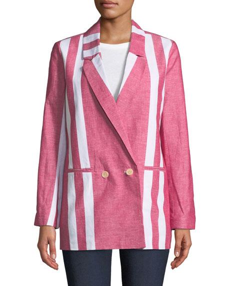 Colorblock Striped Blazer