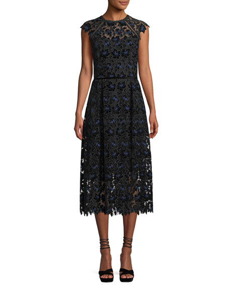Shoshanna Massena Lace Dress w/ Velvet Flowers