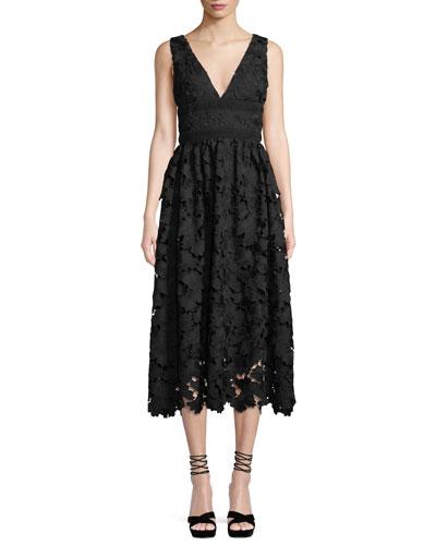Monroe Sleeveless Midi Dress in Lace