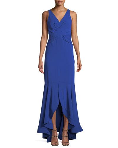 Montague V-Neck Gown w/ High-Low Hem