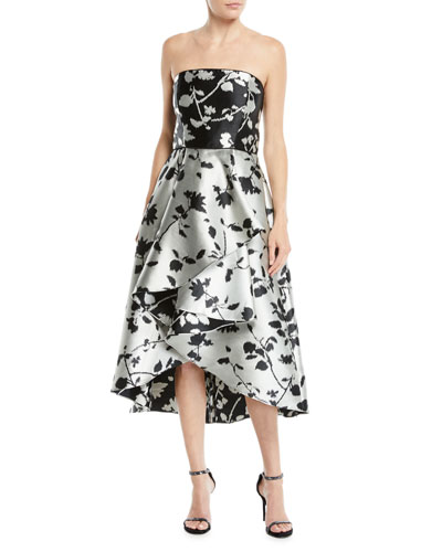 Isbell Strapless Fit-and-Flare Floral-Jacquard High-Low Cocktail Dress