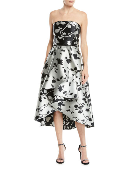 Shoshanna Isbell Strapless Fit-and-Flare Floral-Jacquard High-Low