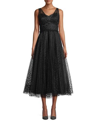 Huntleigh Pleated Midi Dress w/ Velvet Polka Dots