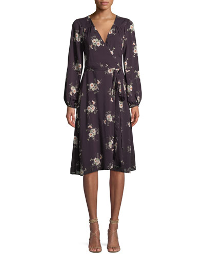 Pomona Floral-Print Long-Sleeve Wrap Dress
