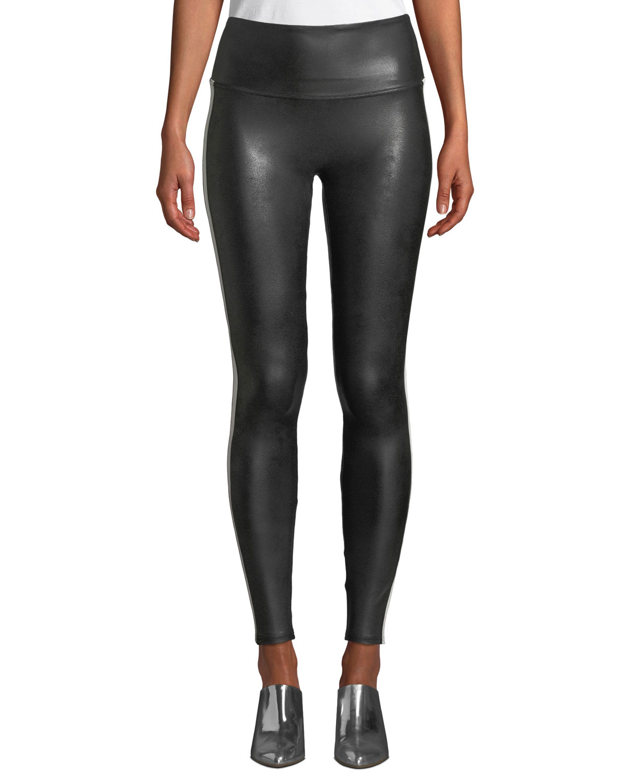 Spanx Faux Leather Side Stripe Leggings Neiman Marcus