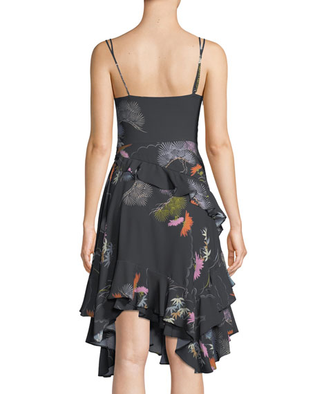 Sleeveless V-Neck Ruffle Floral-Print Dress