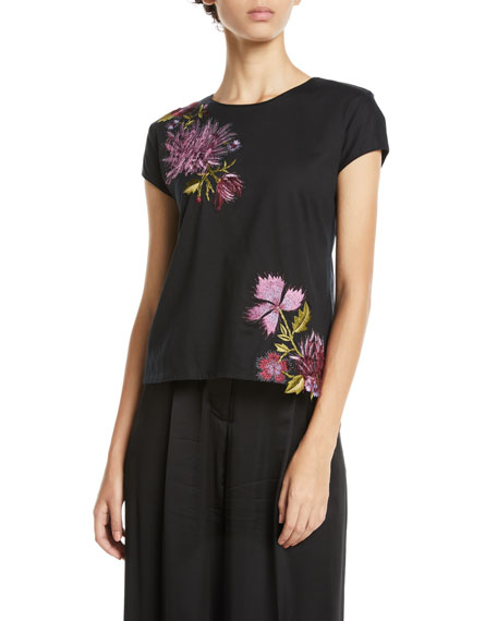 Josie Natori Crewneck Short-Sleeve Floral-Embroidered Supima