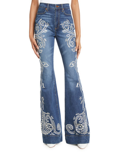 Beautiful Embellished High-Rise Bell-Bottom Jeans