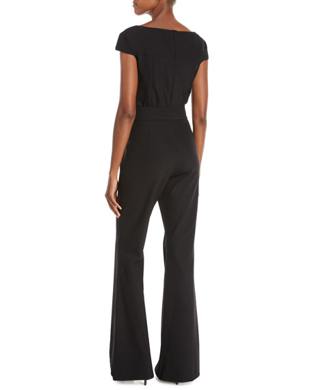 Cap-Sleeve V-Neck Flared-Leg Bi-stretch Jumpsuit