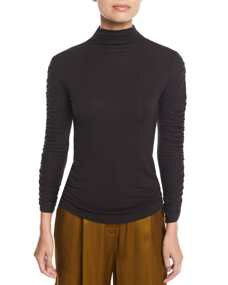 Josie Natori Mock-Neck Long-Sleeve Ruched Knit Top and