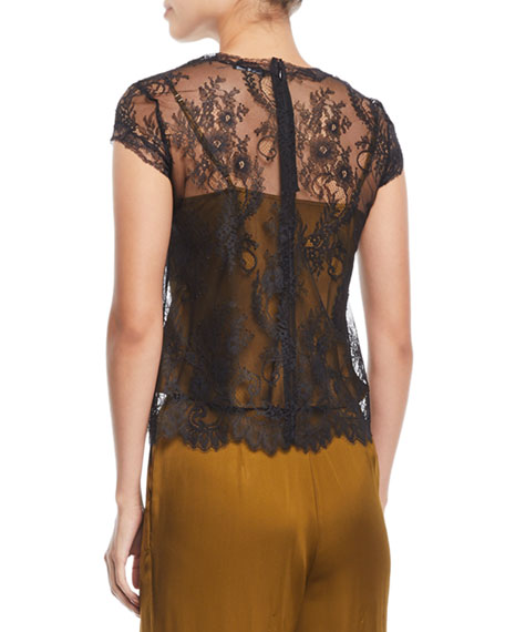 Cap-Sleeve Lace T-Shirt w/ Camisole