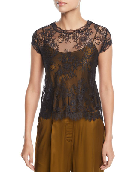 Josie Natori Cap-Sleeve Lace T-Shirt w/ Camisole and
