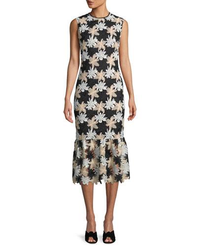 Joliet Sleeveless Bodycon Midi Dress in Jasmine Lace