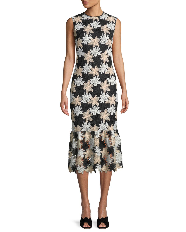818959b9d03 Shoshanna Joliet Sleeveless Bodycon Midi Dress in Jasmine Lace ...