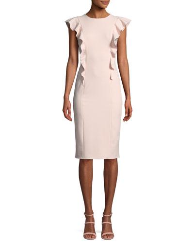 Cady Sleeveless Dress in Ruffled Crepe