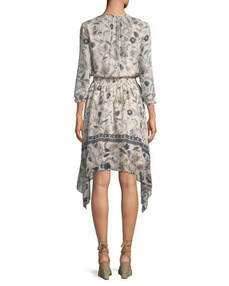 Jayne Floral-Print Silk Dress w/ Hankie Hem