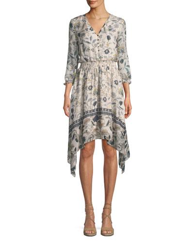 Jayne Floral-Print Silk Dress w/ Hankie Hem
